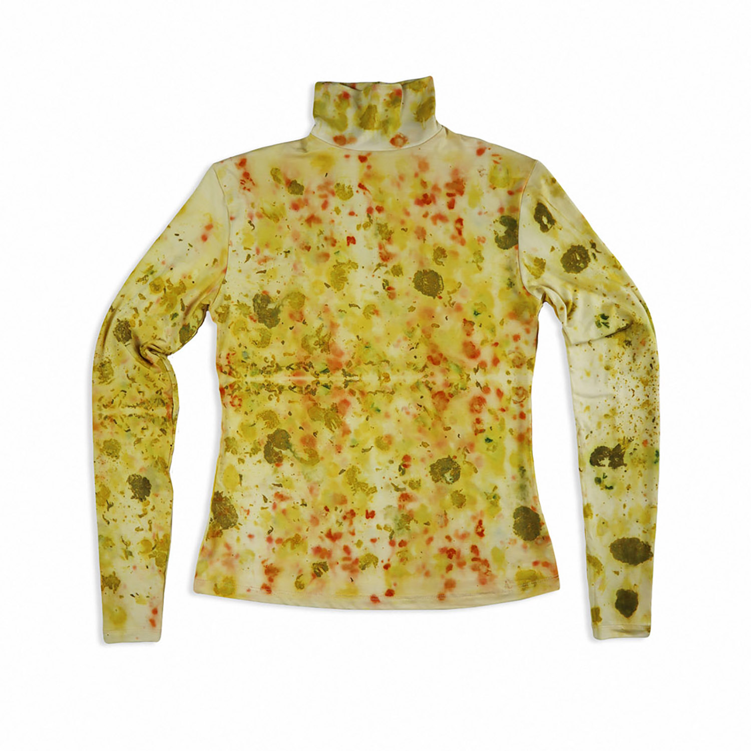 Bamboo Jersey Turtleneck Sweater - Eco-printed with Coreopsis Flowers