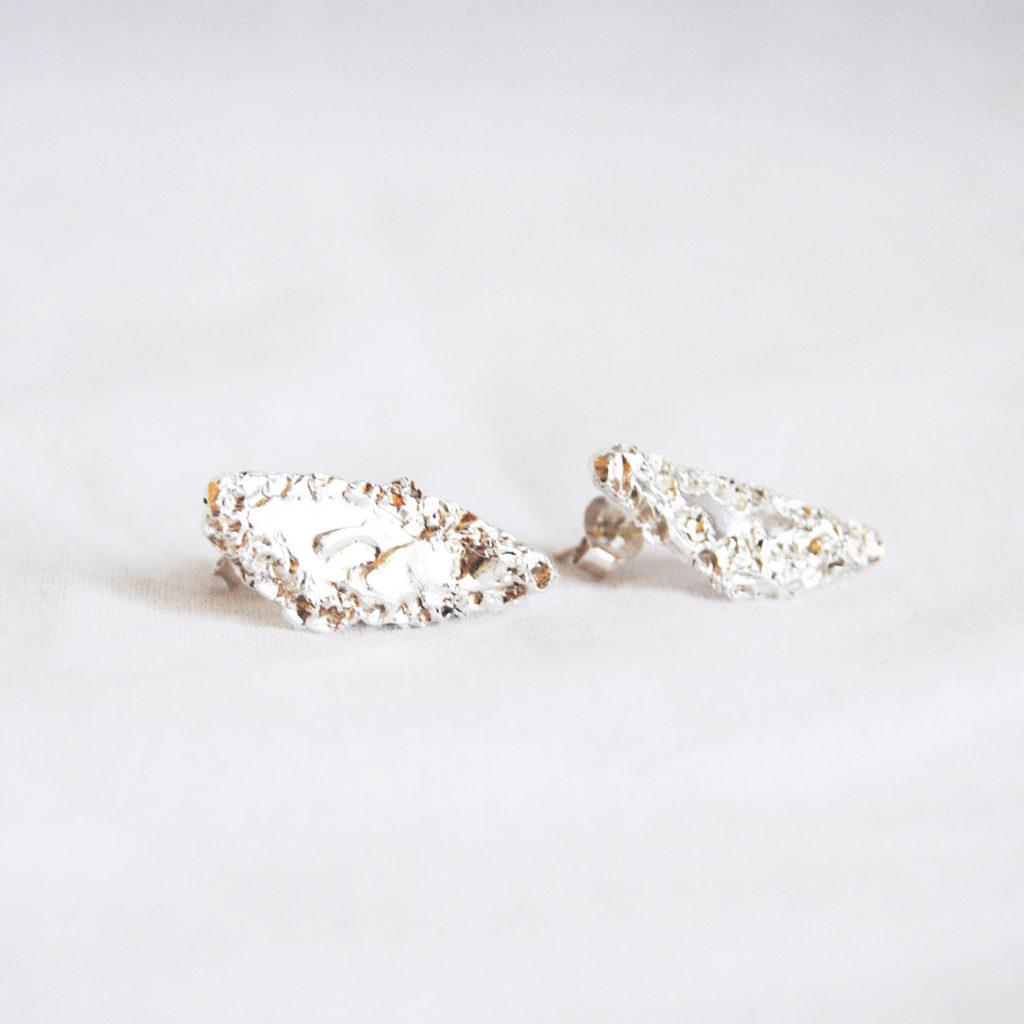 Rought earrings silver