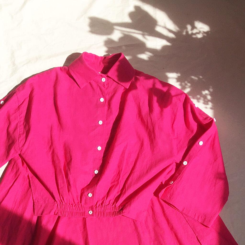 Camicia asimmetrica fucsia