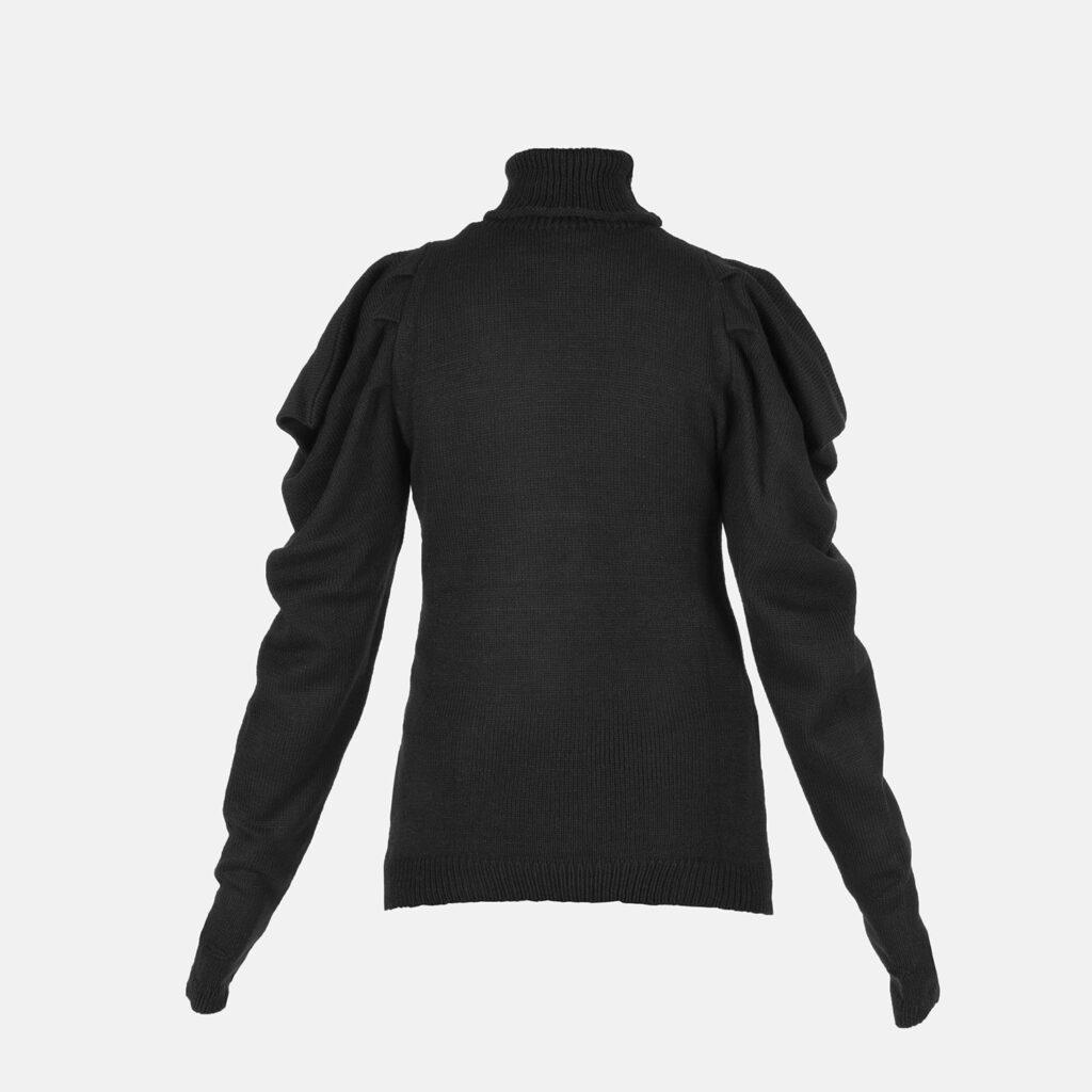 Pullover collo alto nero/bianco