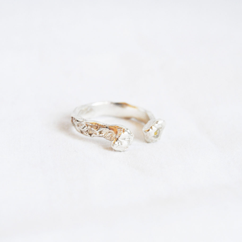 Rought silver/bronze ring - open
