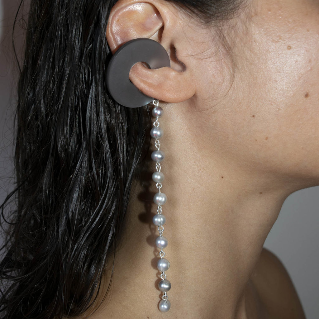 Earcuff satellite with river pearl thread